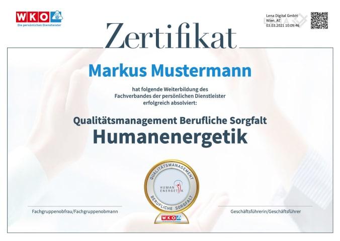 Muster Zertifikat für das Qualitätsmanagement Berufliche Sorgfalt
